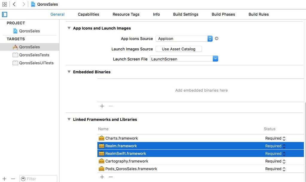 drag realm.framework and realmswift.framework into linked frameworks and libraries