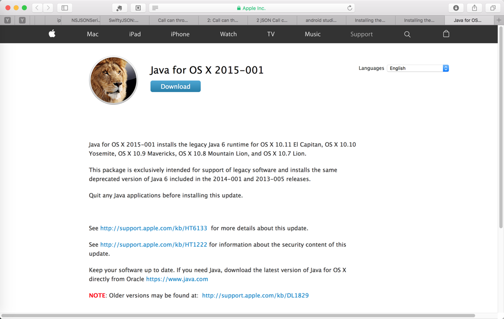 java for os x 2015