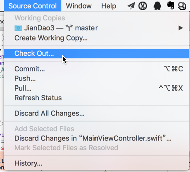 xcode source control check out