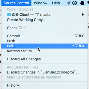 xcode soure control pull