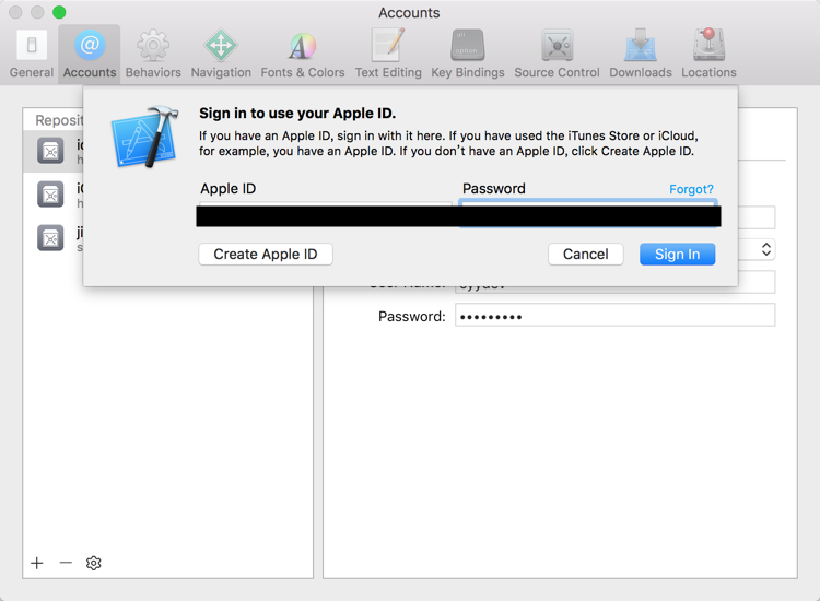 sign in to use your apple id