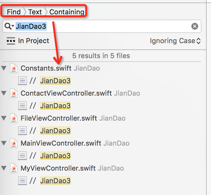 xcode search found text string